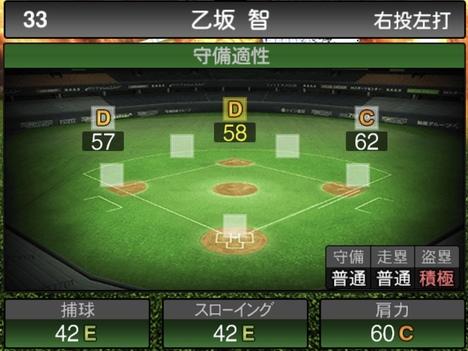 プロスピA乙坂智2020シリーズ1の守備評価