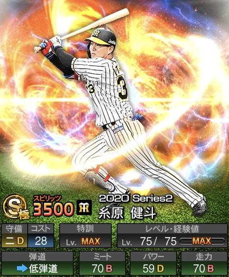 プロスピA糸原健斗2020シリーズ2の評価