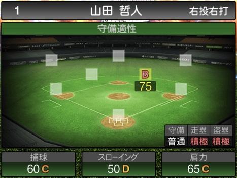 プロスピA山田哲人2020シリーズ2の守備評価