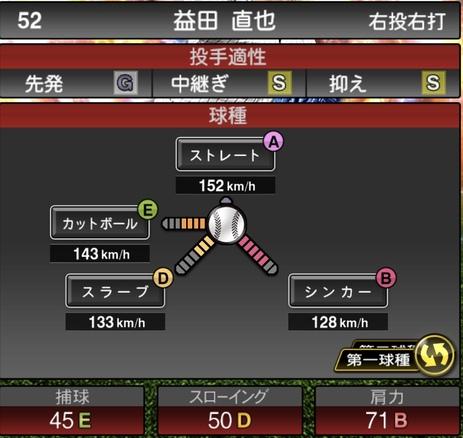 プロスピA益田直也2020年シリーズ2の第一球種のステータス
