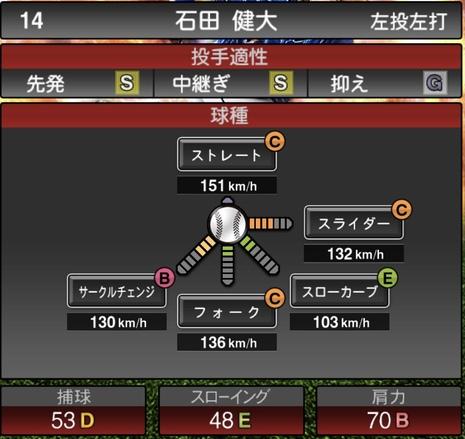 プロスピA石田健大2020年シリーズ2の第一球種のステータス