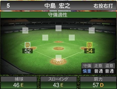 プロスピA中島宏之2020シリーズ2の守備評価