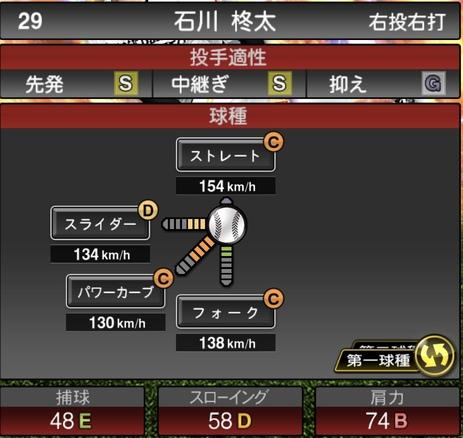 プロスピA石川柊太2020年シリーズ2の第一球種のステータス