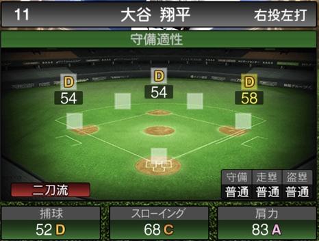 プロスピA大谷翔平(打者)2020シリーズ2WSの守備評価