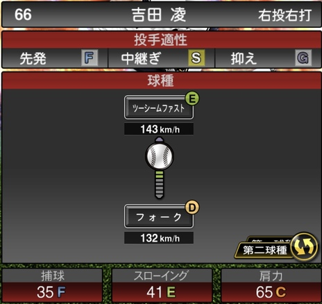 プロスピA吉田凌2020年シリーズ2の第二球種のステータス