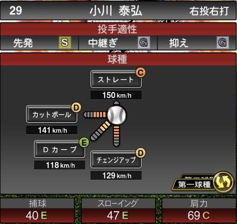 プロスピA小川泰弘2020年シリーズ2の第一球種のステータス