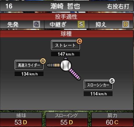 プロスピA潮崎哲也2020年シリーズ2OB第3弾の第一球種のステータス