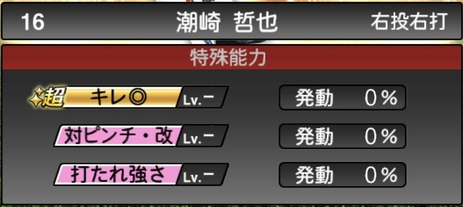 プロスピA潮崎哲也2020シリーズ2OB第3弾の特殊能力
