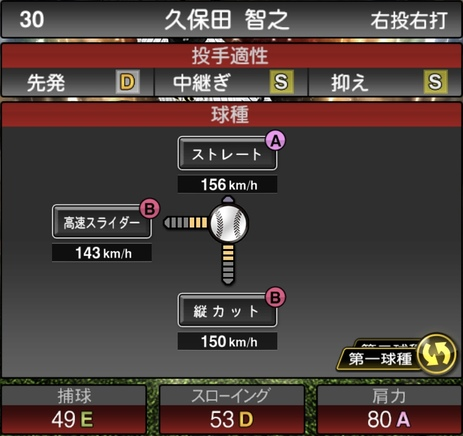 プロスピA久保田智之2020年シリーズ2OB第3弾の第一球種のステータス