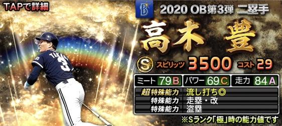 プロスピA高木豊2020年OB第3弾の評価