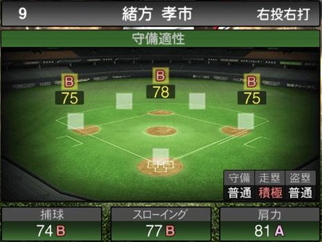 プロスピA緒方孝市2020シリーズ2の守備評価