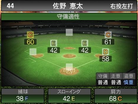プロスピA佐野恵太2020シリーズ2の守備評価