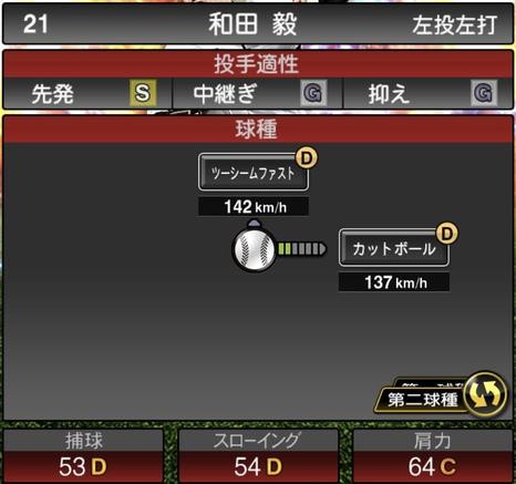 プロスピA和田毅2020年シリーズ2の第二球種のステータス
