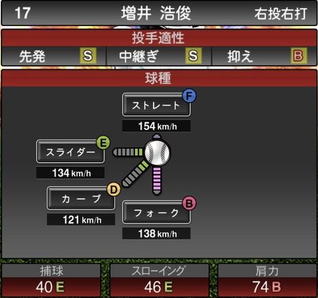 プロスピA増井浩俊2020年シリーズ2の第一球種のステータス