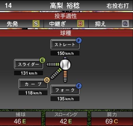 プロスピA高梨裕稔2020年シリーズ2の第一球種のステータス