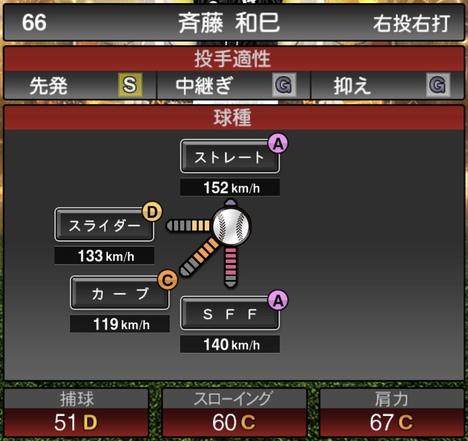 プロスピA斉藤和巳2020年シリーズ2OBチャンピオンシップスターズの第一球種のステータス