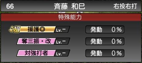 プロスピA斉藤和巳2020シリーズ2OBチャンピオンシップスターズの特殊能力