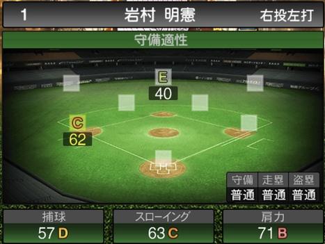 プロスピA岩村明憲2020シリーズ2OBチャンピオンシップスターズの守備評価