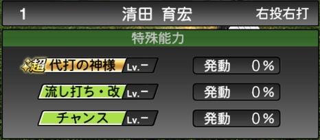 プロスピA清田育宏2020シリーズ2の特殊能力