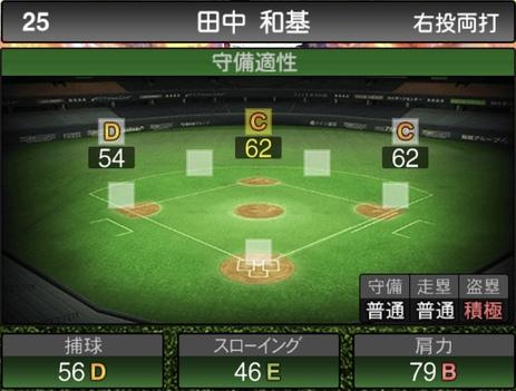 プロスピA田中和基2020シリーズ2の守備評価