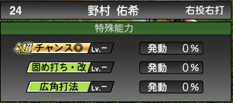 プロスピA野村佑希2020シリーズ2の特殊能力