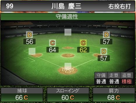 プロスピA川島慶三2020シリーズ2の守備評価