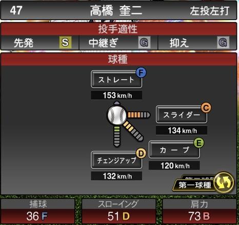 プロスピA高橋奎二2020年シリーズ2の第一球種のステータス