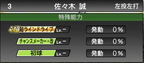 プロスピA佐々木誠2020シリーズ2の特殊能力