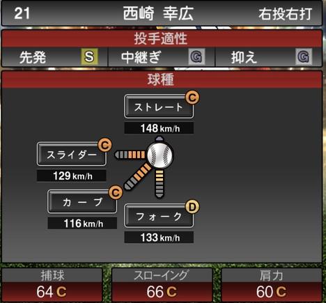 プロスピA西崎幸広2020年シリーズ2OB第4弾の第一球種のステータス