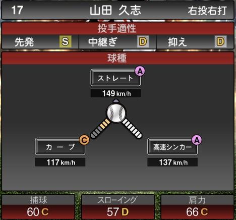 プロスピA山田久志2020年シリーズ2OB第4弾の第一球種のステータス