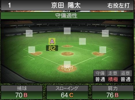 プロスピA京田陽太2021シリーズ1の守備評価