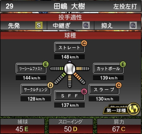プロスピA田嶋大樹2021シリーズ1の第一球種のステータス