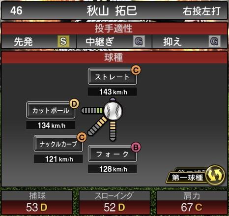 プロスピA秋山拓巳2021シリーズ1の第一球種のステータス