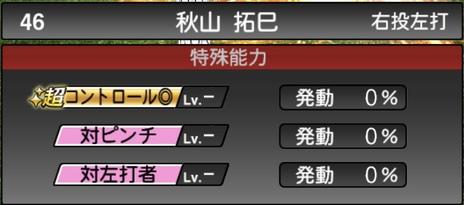 プロスピA秋山拓巳2021シリーズ1の特殊能力