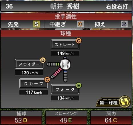 プロスピA朝井秀樹2020年シリーズ2OB第5弾の第一球種のステータス