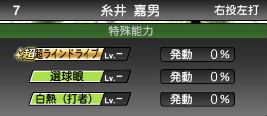 プロスピA糸井嘉男のエキサイティングの特殊能力