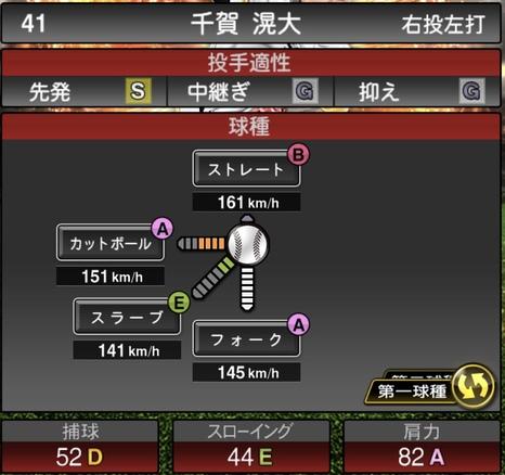 プロスピA千賀滉大2021シリーズ1の第一球種のステータス