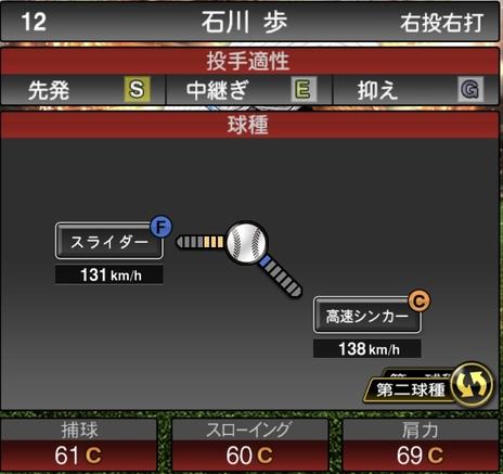プロスピA石川歩2021シリーズ1の第二球種のステータス