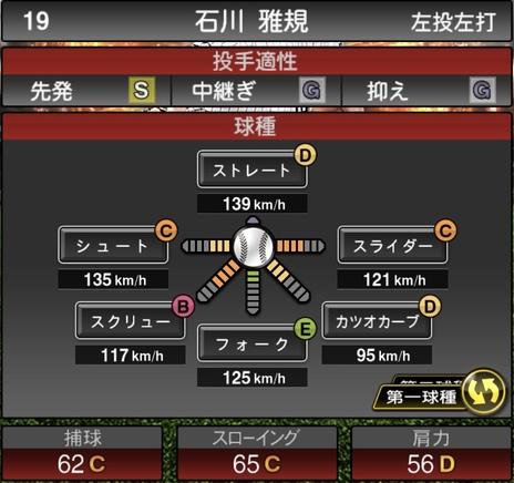 プロスピA石川雅規2021シリーズ1の第一球種のステータス