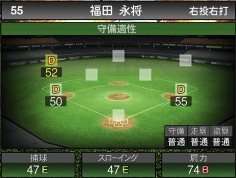 プロスピA福田永将2021シリーズ1の守備評価