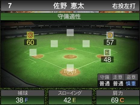 プロスピA佐野恵太2021シリーズ1の守備評価