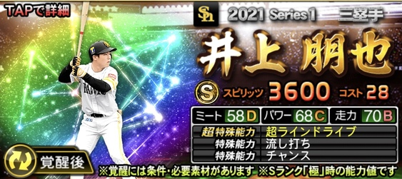 プロスピA2021ドラフト1位ルーキー井上朋也の評価