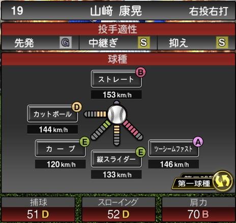 プロスピA山﨑康晃2021シリーズ1の第一球種のステータス