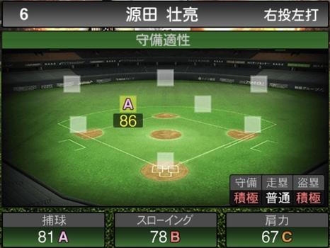 プロスピA源田壮亮2021シリーズ1の守備評価