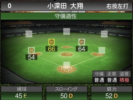 プロスピA小深田大翔2021シリーズ1の守備評価