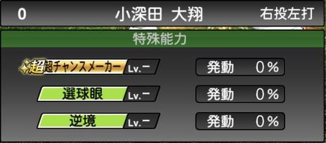 プロスピA小深田大翔2021シリーズ1の特殊能力