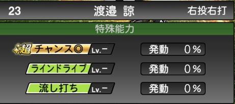 プロスピA渡邉諒2021シリーズ1の特殊能力