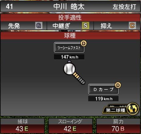 プロスピA中川皓太2021シリーズ1の第二球種のステータス