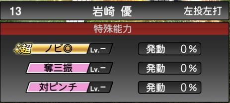 プロスピA岩崎優2021シリーズ1の特殊能力