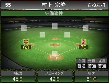 プロスピA村上宗隆2021シリーズ1の守備評価